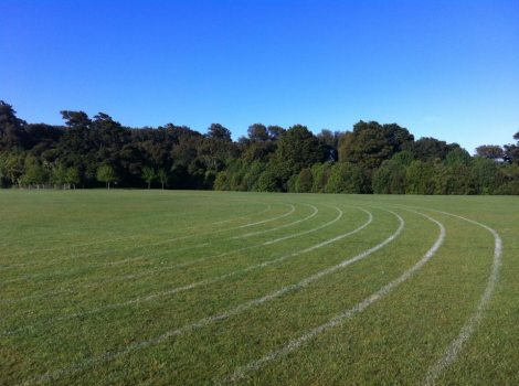 The flat green grass of Trentham Memorial Park is ideal for running strides.